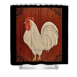 Red Barnyard Rooster Shower Curtain