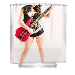 Red Bass Guitar Shower Curtain