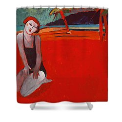 Red Beach Two Shower Curtain