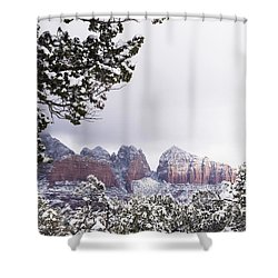 Red Beats White Shower Curtain