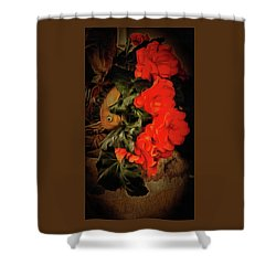 Shower Curtain featuring the photograph Red Begonias by Thom Zehrfeld