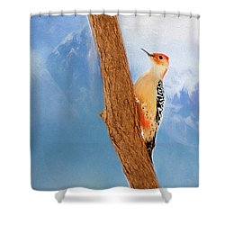 Shower Curtain featuring the digital art Red Bellied Woodpecker by Darren Fisher
