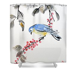 Red Berries Blue Bird Shower Curtain