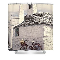 Red Bicycle Shower Curtain by Joana Kruse