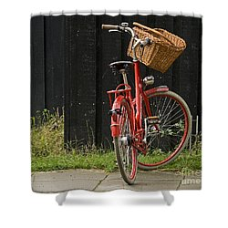 Shower Curtain featuring the photograph Red Bike by Inge Riis McDonald