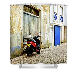 Shower Curtain featuring the photograph Red Bike by Marion McCristall