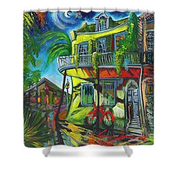Shower Curtain featuring the painting Red Bike On Royal by Amzie Adams