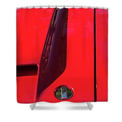 Shower Curtain featuring the photograph Red Black And Shapes On Hot Rod Hood by Gary Slawsky
