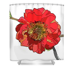 Red Blossom Shower Curtain