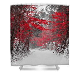 Red Blossoms Horizontal Shower Curtain