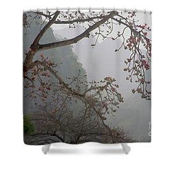 Red Blossoms  Vietnam  Shower Curtain