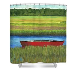Red Boat - Assateague Channel Shower Curtain