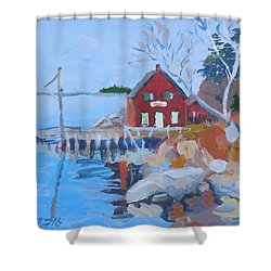 Shower Curtain featuring the painting Red Boat House by Francine Frank
