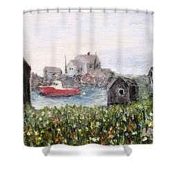 Shower Curtain featuring the painting Red Boat In Peggys Cove Nova Scotia  by Ian  MacDonald