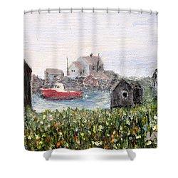 Red Boat In Peggys Cove Nova Scotia  Shower Curtain