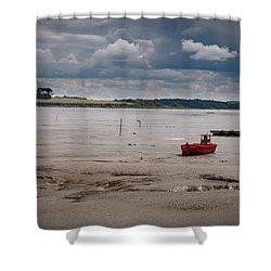 Red Boat On The Mud Shower Curtain