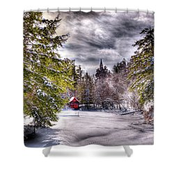 Shower Curtain featuring the photograph Red Boathouse After The Storm by David Patterson