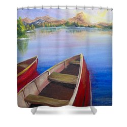 Shower Curtain featuring the painting Red Boats At Sunrise by Saundra Johnson