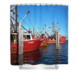 Shower Curtain featuring the photograph Red Boats In The Bay by John Rizzuto