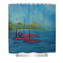 Shower Curtain featuring the painting Red Boats by Judith Rhue
