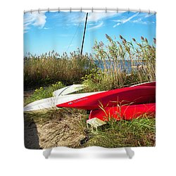 Shower Curtain featuring the photograph Red Boats On The Beach by John Rizzuto