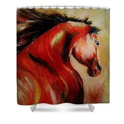 Red Breed Shower Curtain by Khalid Saeed