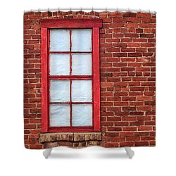 Red Brick And Window Shower Curtain by James Eddy