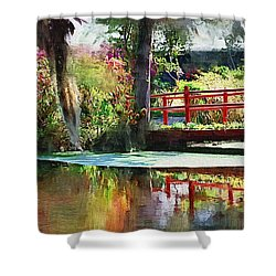 Red Bridge Shower Curtain