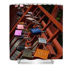 Shower Curtain featuring the photograph Red Bridge Engagement Commitment 1 by Carolina Liechtenstein