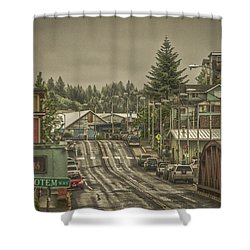 Shower Curtain featuring the photograph Red Bridge Haze by Timothy Latta