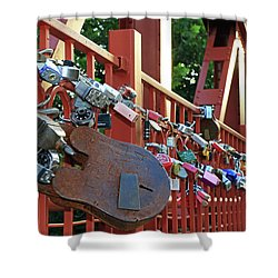 Shower Curtain featuring the photograph Red Bridge Locks by Christopher McKenzie