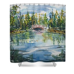 Shower Curtain featuring the painting Red Bridge On Lake In The Ozarks by Reed Novotny