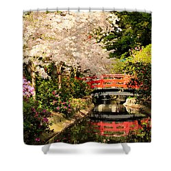 Red Bridge Reflection Shower Curtain by James Eddy