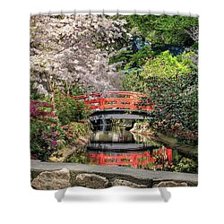 Red Bridge Spring Reflection Shower Curtain by James Eddy