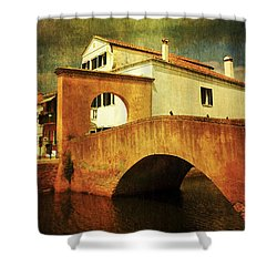 Shower Curtain featuring the photograph Red Bridge With Storm Cloud by Anne Kotan