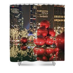 Red Bubbles Shower Curtain by Evelina Kremsdorf