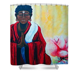Red Buddha Lotus Shower Curtain by Jackie Carpenter