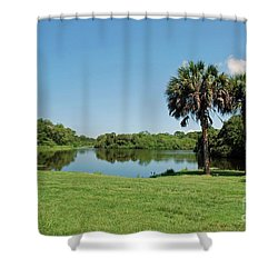 Shower Curtain featuring the photograph Red Bug Slough by Gary Wonning
