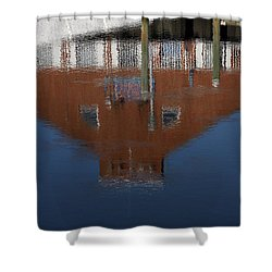 Red Building Reflection Shower Curtain by Karol Livote