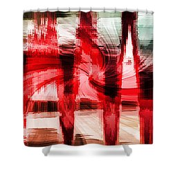 Red Buildings Shower Curtain