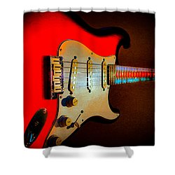 Red Burst Stratocaster Glow Neck Series Shower Curtain