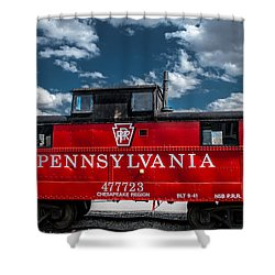 Red Caboose Shower Curtain by Wayne King