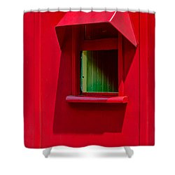 Shower Curtain featuring the photograph Red Caboose Window In Shade by Gary Slawsky