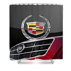 Red Cadillac C T S - Front Grill Ornament And 3d Badge On Black Shower Curtain by Serge Averbukh