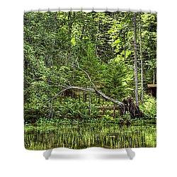 Shower Curtain featuring the photograph Red Canoe Panorama by David Patterson