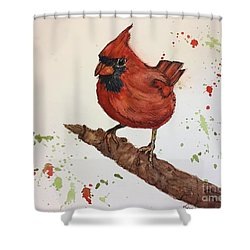 Shower Curtain featuring the painting Red Cardinal by Lucia Grilletto