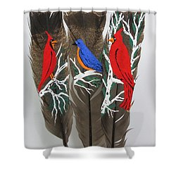 Red Cardinals On Turkey Feathers Shower Curtain by Jeffrey Koss