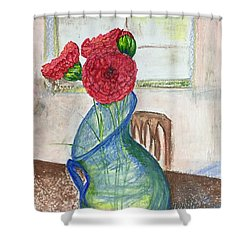 Red Carnations Shower Curtain