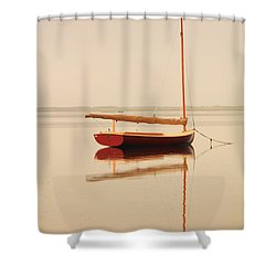 Red Catboat On Misty Harbor Shower Curtain