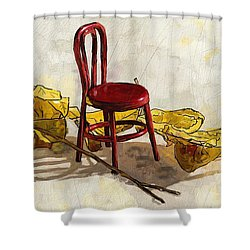 Red Chair And Yellow Leaves Shower Curtain